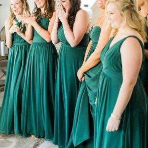 AZAZIE Green Bridesmaid Gown Greek Draped Style